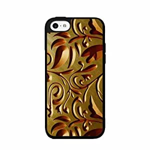 Gold Floral Pattern- TPU RUBBER SILICONE Phone Case Back Cover iPhone 5c