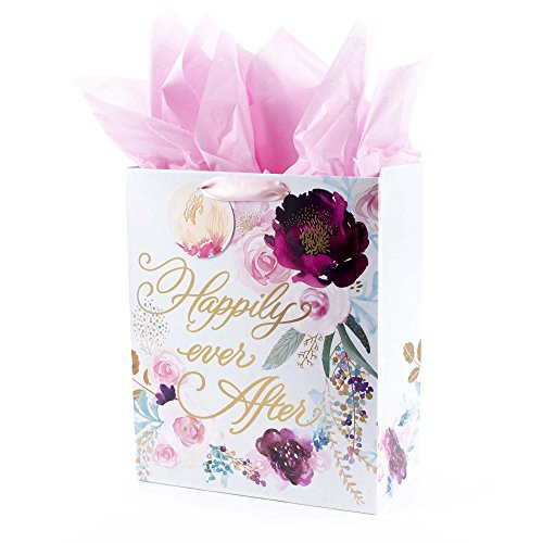Hallmark Large Gift Bag with Tissue Paper for Weddings, Bridal Showers, Engagements and More (Floral, Happily Ever After)]()