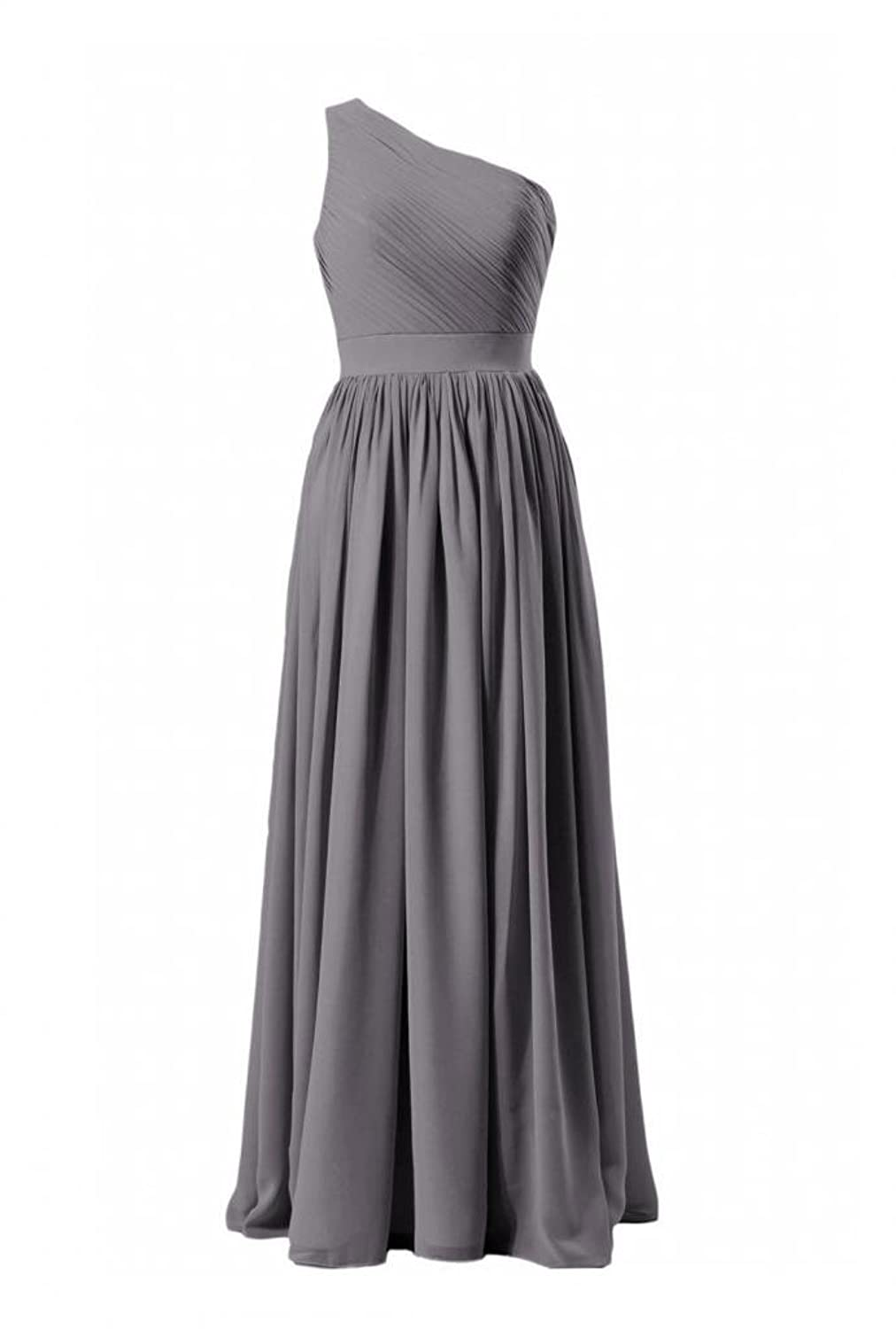 DaisyFormals Long One-Shoulder Bridesmaid Dress Vintage Chiffon Bridal Party Dress(BM122)