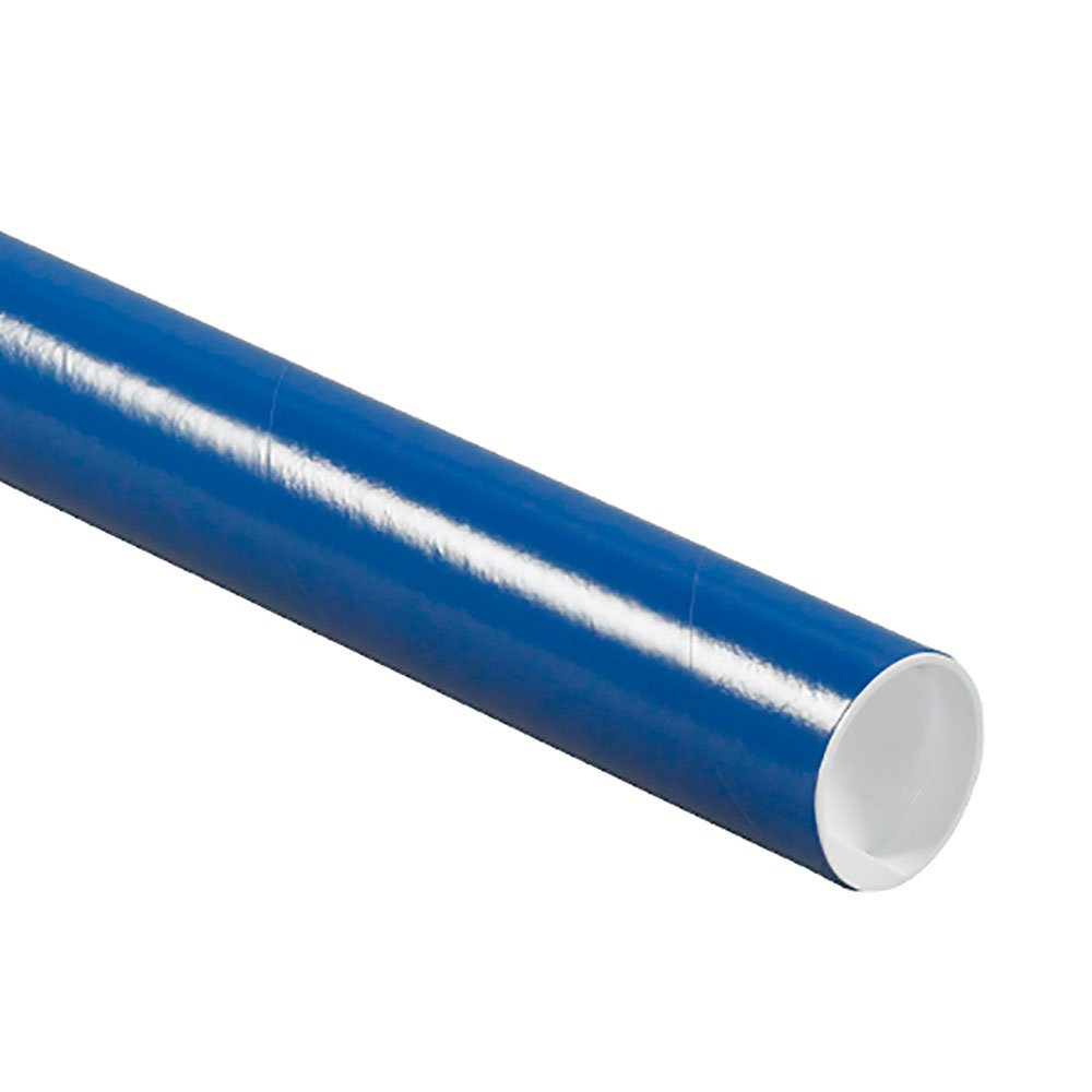 Pack of 25 RetailSource P2020Bx25 2 x 20 Blue Mailing Tubes with Caps