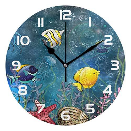 TropicalLife Ocean Underwater Fish Decorative Wall Clock Acrylic Round Clocks Non Ticking Art Decor Bedroom Living Room Kitchen Bathroom Office ()