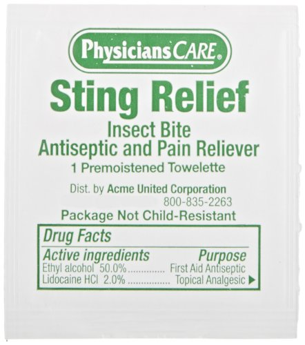 First Aid Only 19-200 Sting Relief Wipe (Box of 100)