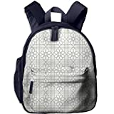 Haixia Kids' Boy's&Girl's Bookbag with Pocket Grey Decor Arabesque Pattern Mosaic Tiles with Moroccan Floral Traditional Symmetric Artwork Full White