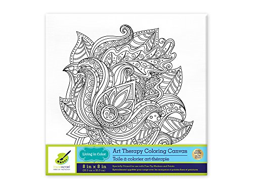 Living in Color Art Therapy Stretch Artist Canvas  Primed, 8in x 8in, Color your own beautiful design on Canvas, Floral Mandala