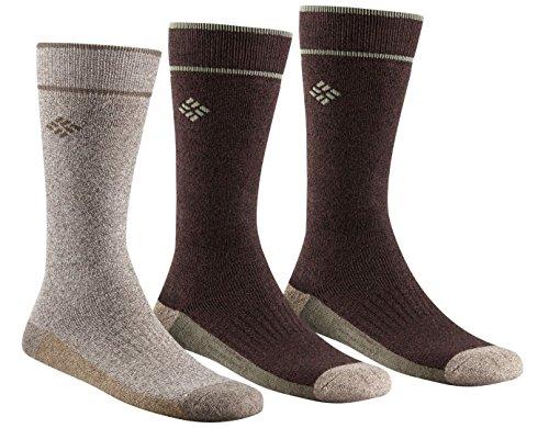 Columbia Socks Men (Columbia Men's Cotton Crew, Khaki/Brown, 10-13 Sock Size (Shoe Size)