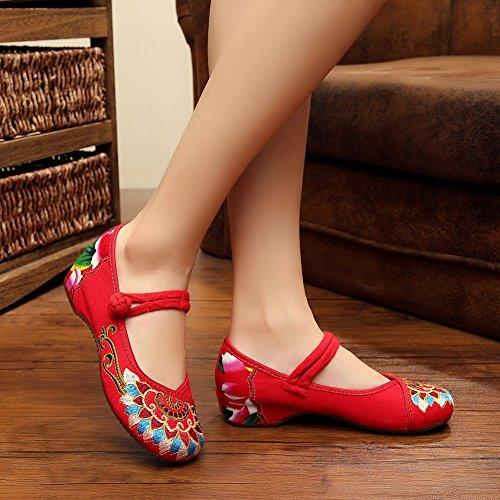 Scarpe Oxford Donna Ricamo Cinese Scarpe Zeppa Casual Mary Jane Rosso
