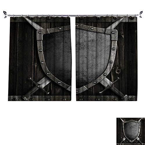 DESPKON Shading Polyester Material dieval Shield and Crossed Swords Wood Gate Safety Security Military for Room Decoration W96 x L72 (Cafe Diamond Diamond Brown)