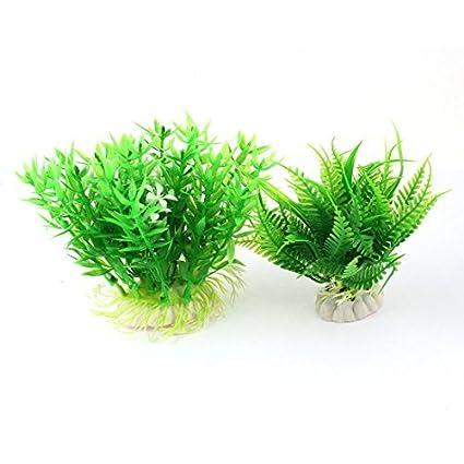 2 en 1 plantas artificiales de plástico Blanco de agua Verde Para el tanque de pescados