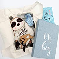 Baby Boy Gift Basket Sloth Lovey + Teether + Socks + Gift Box