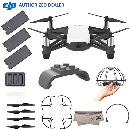 DJI Tello Quadcopter Drone Boost Combo with HD Camera and VR, Comes DJI 3 Batteries, 8 Propellers, Protective Cage, Adapter, 14-Core Processor, Coding Education, Throw and Fly