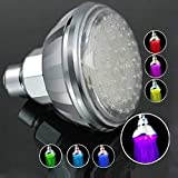 Pooqdo 1 pc Romantic Automatic 360° 7 Color LED Shower Head Facut Home Bathroom