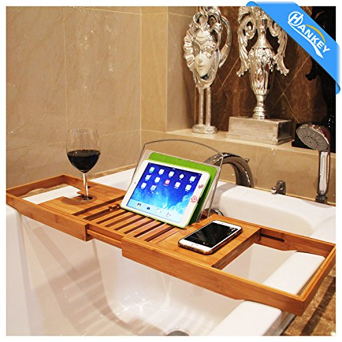 Hankey Luxury Bamboo Bathtub Caddy Tray with Extending Sides
