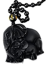 Hand Carved Natural Genuine Obsidian Mother Elephant & Baby Elephant Amulet Pendant Necklace