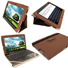 """iGadgitz Brown 'Portfolio' PU Leather Case Cover for Asus Transformer Pad & Keyboard Dock TF700 TF700T TF700KL Infinity 10.1"""" Android Tablet (NOT SUITABLE FOR TF701T)"""