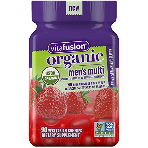 Vitafusion Organic Men's Gummy Multivitamin, 90 Count - Non-GMO, Gluten-Free, No Gelatin, No HFCS (Best Organic Vitamins For Men)