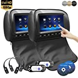 9 inch 1080P Car Headrest DVD Player Video Monitor with Leather Cover Zipper IR Wireless Headphones Games for Kids Road Trips Entertainment System (Touch Screen, Black)