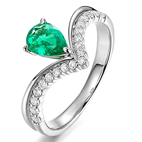 0.51 Ct Emerald Cut Diamond (Elegant 14k White Gold Natural 0.51ct Pear Emerald Gemstone 0.266ct Full Cut Diamond Wedding Engagement Ring Set for Women)