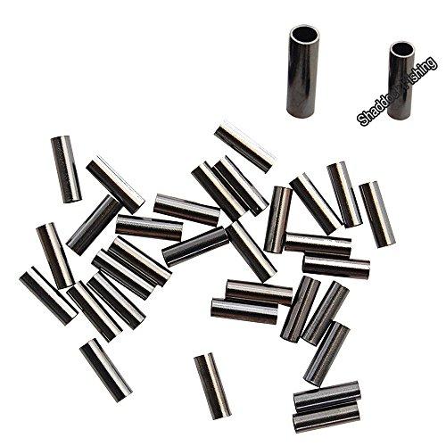 50Pcs 1.1MM Inside Diameter Single Brass Barrel Crimp Sleeves with Black (Black Single Barrel Sleeves)