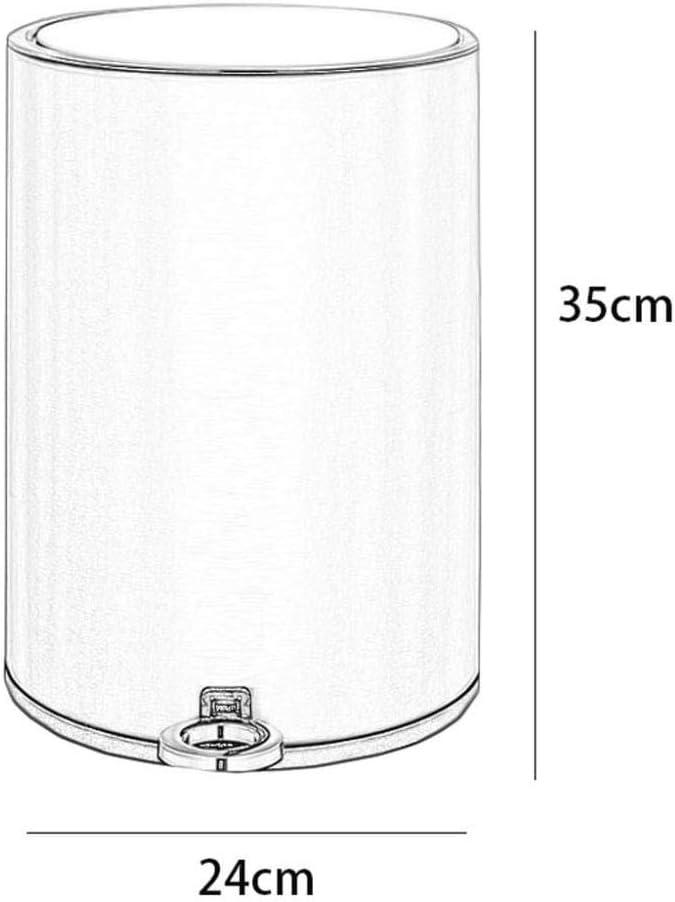 SZRWD 12L Abfallbeh/älter M/ülleimer Edelstahl Eingebaut mit Deckel Pedal Typ Papier Kassettendichtung Home K/üche Wohnzimmer Badezimmer Gold 24 35cm