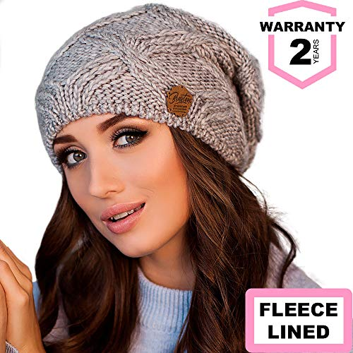 Oversized Chunky Winter Beanie for Women, Slouchy Merino Wool Knit Hat with Fleece Lining, Perfect for Cold Weather Outdoor Activities ,light grey ()