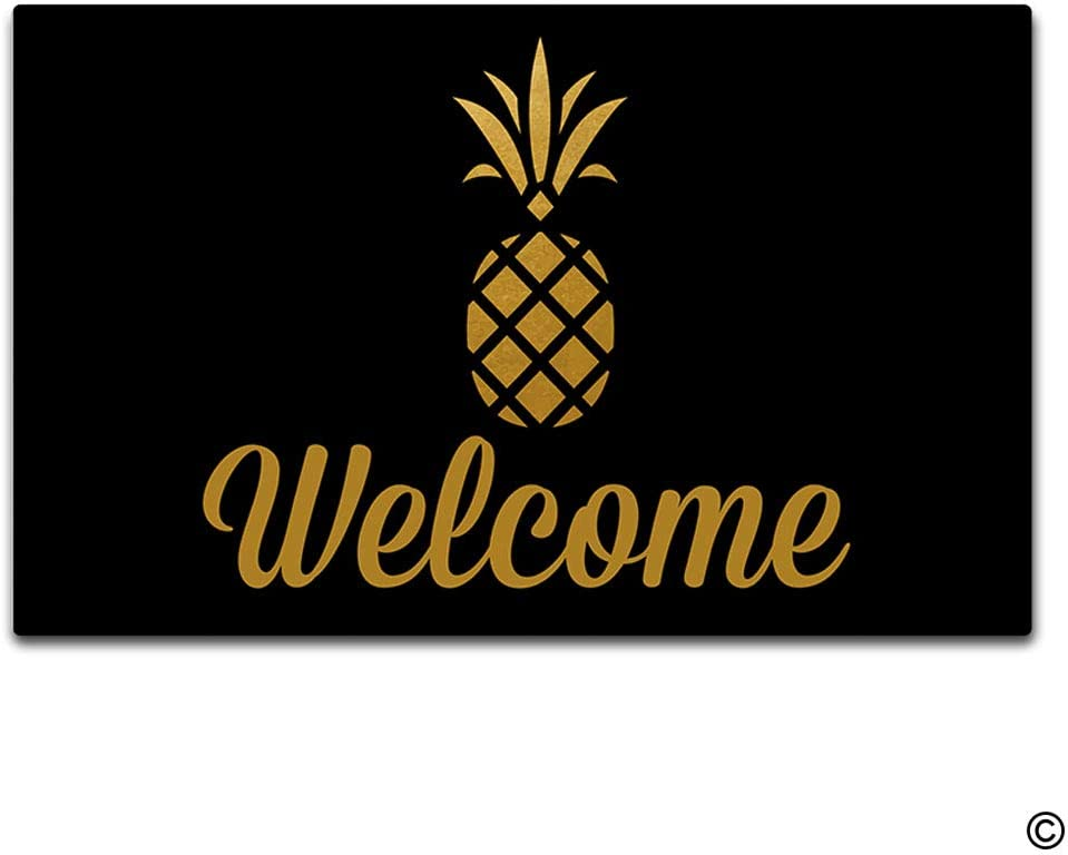 Amazon Com Artswow Doormat Welcome Gold Pineapple Doormat Welcome Mat Home Decorative Indoor Outdoor Door Mat Non Slip Rubber Backing 30 Inch 18 Inch Kitchen Dining