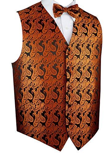 Brand Q Men's Tuxedo Vest and Bow-Tie Set-Burnt Orange Paisley-L ()