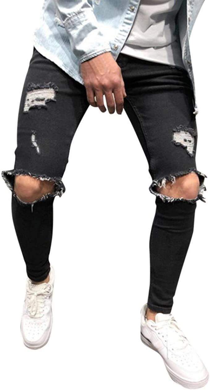 Men Tight Skinny Denim Jean Distressed Ripped Frayed Stylish Casual Trousers