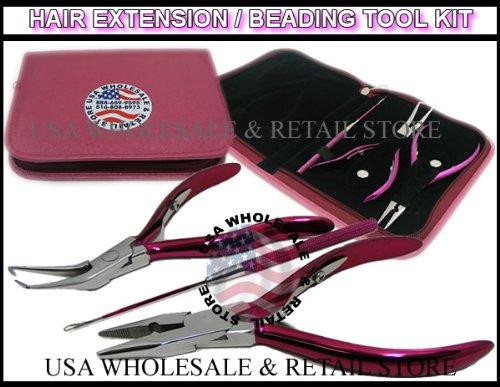 USA W&R BRAND PINK Micro Ring Hair Extension & Beading Tool Kit Plier Set (3 piece Set + Free Case)