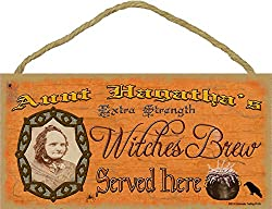 """Aunt Hagatha's Witches Brew Halloween Fall Sign Plaque Decor 5""""x10"""""""
