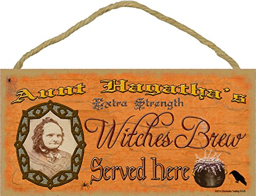 Aunt Hagatha's Witches Brew Halloween Fall Sign Plaque Decor -