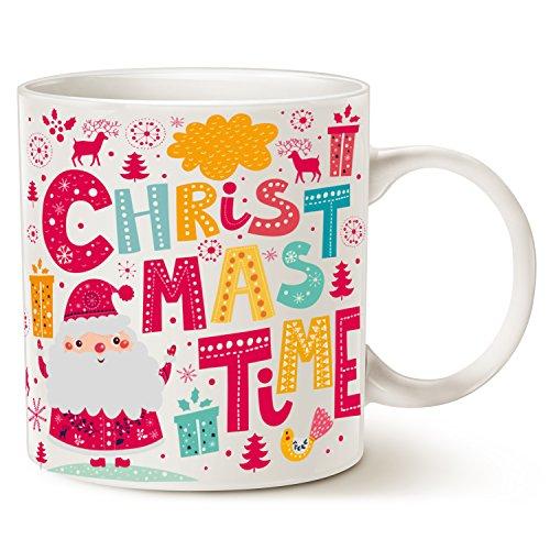 MAUAG Santa Claus Funny Coffee Mug Unique Christmas Gifts -CHRISTMAS TIME Ceramic Cup, White 14Oz by LaTazas