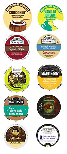 10 Single Serve Cup 2.0 Compatible Variety Sampler, work in the new Keurig® 2.0 Brewers. Mix it up, try coffee, decaf, tea, cocoa+ (Hot Chocolate Vue Cups)