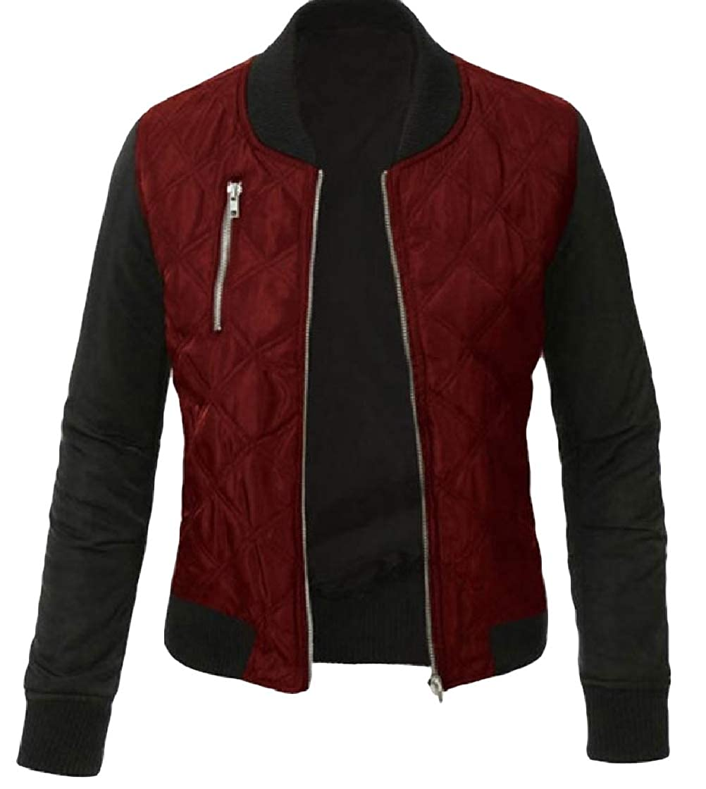 YUNY Womens Zip Pocket Hit Color Stylish Splicing Thickened Outwear Jacket Wine Red XL