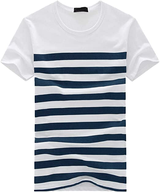 beautyjourney Camiseta de Manga Corta de Rayas de Hombre Camisa Deportiva Pull-Over Camiseta básica Camisas de Cuello Redondo para Hombre Tops: Amazon.es: Ropa y accesorios