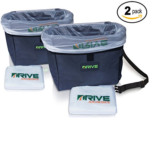 Car Garbage Can (2-Pack) by Drive Auto Products from The Drive Bin As Seen On TV Collection, Black Strap
