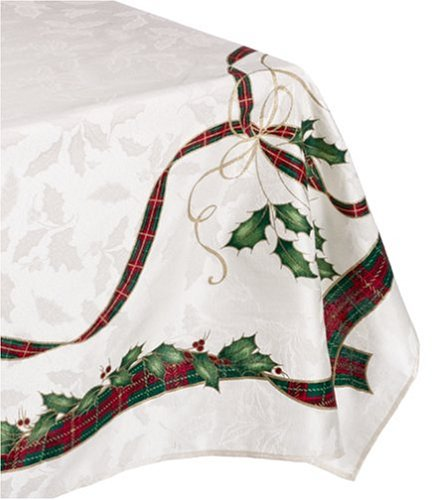 Lenox Holiday Nouveau Tablecloth, 60 by-104-Inch Oblong/Rectangle, Ivory by Lenox