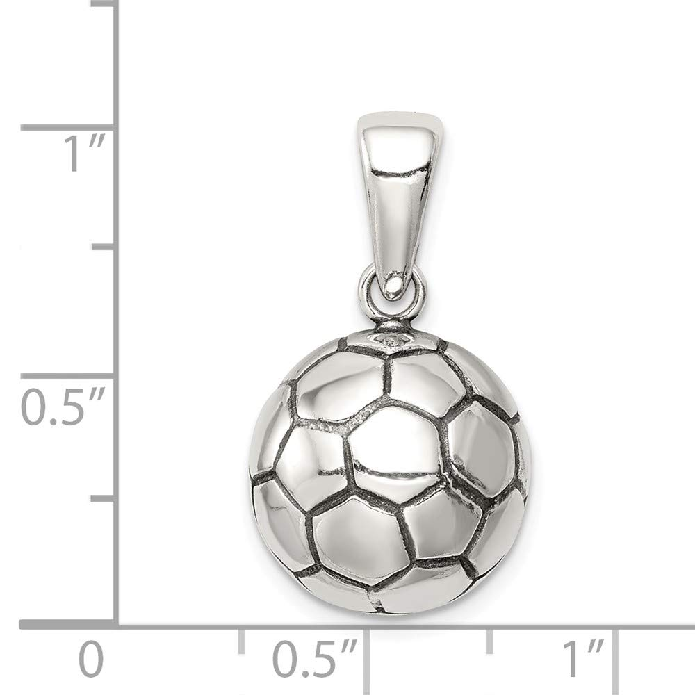 Colgante de balón de fútbol de plata de ley maciza envejecida ...