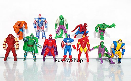 [RusToyShop] 10psc 3-3,5 cm random Avengers, Marvel, Spiderman, Hulk for boys Party Favor Toy Filled Easter mini figures actions tv