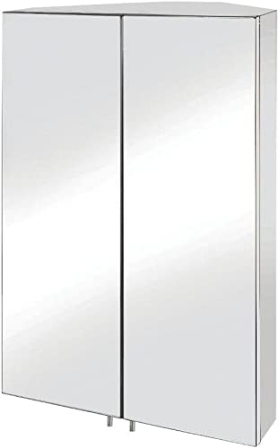 Croydex WC766105YW Avisio Double Door Corner Med Cabinet, Stainless