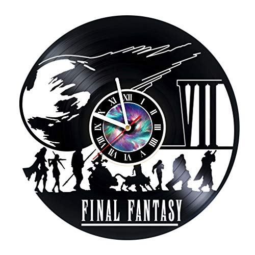 Final Fantasy 7 Adventure Anime PS PC Games Vinyl Record Wall Clock – Decorate your home with Modern Famous Final Fantasy Movie – Fantasy art design Incredible Art – LEAVE A FEEDBACK AND WIN A CLOCK