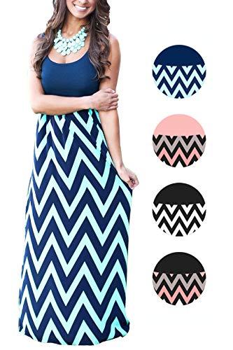 - Womens Summer Boho Empire Chevron Tank Top Casual Maxi Long Dress Beach Dresses (A-Navy, L)
