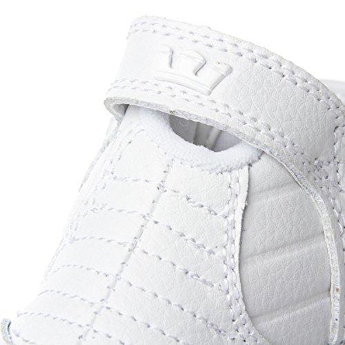 Supra SKYTOP - Pantuflas de caña alta de cuero unisex White