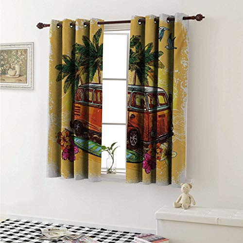 - shenglv Surf Customized Curtains Hippie Classic Old Bus with Surfboard Freedom Holiday Exotic Life Sketchy Art Curtains for Kitchen Windows W63 x L45 Inch Yellow Orange Green