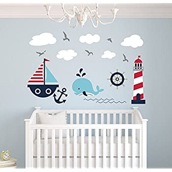 Delightful Nautical Theme Wall Decal   Nautical Decor   Nursery Wall Decals   Whale  And Sailboat