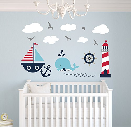 Nautical Theme Wall Decal - Nautical Decor - Nursery Wall Decals - Whale and Sailboat - Vinyl Baby Nursery Decor Sticker]()