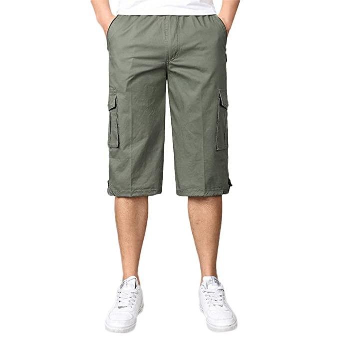 d02699423b Image Unavailable. Image not available for. Color: JJLIKER Men's Casual  Twill Elastic Cargo Shorts Loose Multi-Pocket Trousers ...