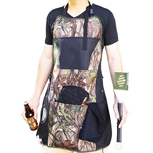 Lifestyle Banquet Camo BBQ Aprons for Men with Pockets and BBQ Grill Accessories (Insulated Bottle Holder, Retractable Bottle Opener, Oven Mitt and Hand Towel) - Cool Birthday Gifts for Men