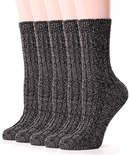 Womens Wool Socks Boot Warm Cotton Comfort Work Duty Winter Socks 5 Pairs (Classic Black)