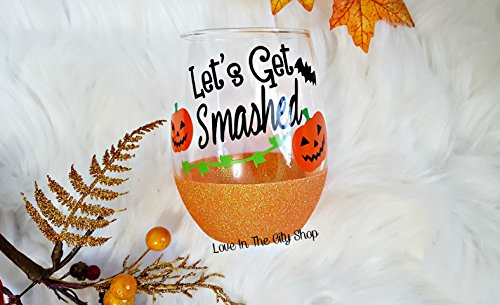 Let's Get Smashed Halloween Wine Glass. A glittered stemless wine glass - perfect Halloween Drinkware