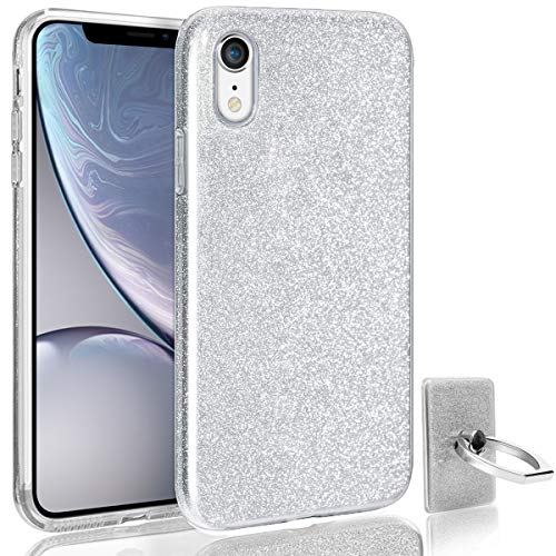 HoneyAKE Glitter Case for iPhone XR, Luxury Bling Sparkle Cute Ultra Thin Slim Fit Three Layer Protective Phone Cover Case with Ring Stand for Girls Women for iPhone XR 6.1 inch (2018 Release)-Silver